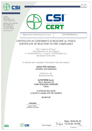Certificate to Reaction to Fire Compliance